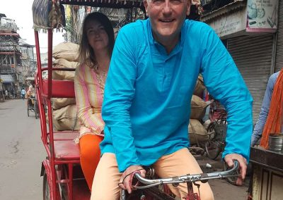Taking driving rickshaw lesson is easier than driving car lesson at Old Delhi