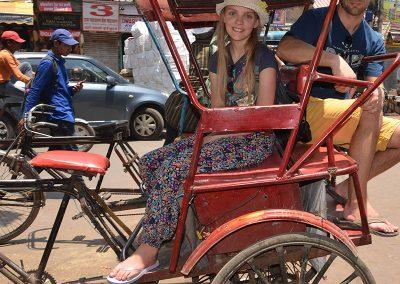 Riding Rickshaw at Old Delhi Walking Tour